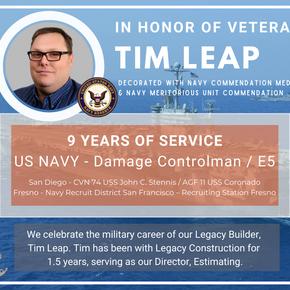 Veteran's Day - Tim Leap: Director of Estimating