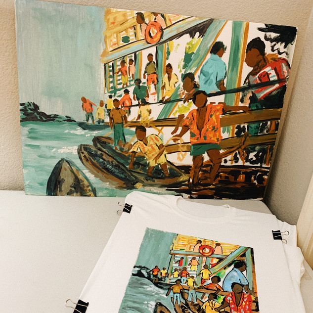 Comparing my Original Painting with the Shirt