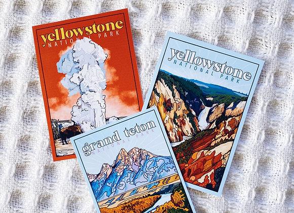 Wyoming National Park Sticker Set