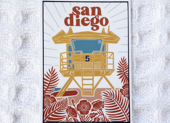 San Diego Linocut Style Sticker