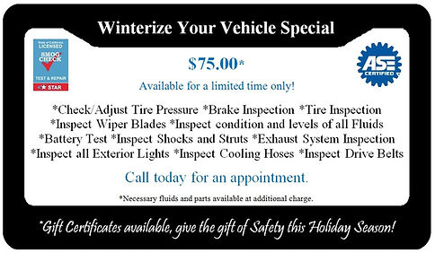 Winterize Your Vehicle Special