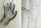Drawings of my left hand  Charcoal on sketchbookpaper