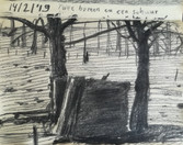 Two trees and a shed  Charcoal on sketchbookpaper