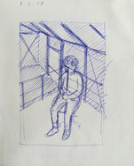 study for portrait of my father in the studio  Blue ballpoint pen on sketchbookpaper