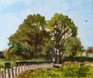 Een huis achter de bomen A house behind the trees  Acryl op paneel Acrylic on panel  Mei 2018 May 2018