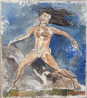 Giulia dansend in een open veld Giulia dancing in an open field  Olieverf op doek Oil on canvas   April 2017