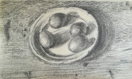 Four Eggs on a Plate  Charcoal on sketchbookpaper