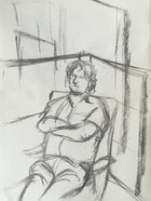 Preparatory study for Portrait of my Father in the Studio  Charcoal on sketchbookpaper