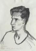 Portrait study of Raffaele van Dun  Charcoal on sketchbookpaper