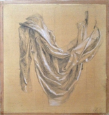 Drapery study of the first academic year    Charcoal hightened with white on brown prepared paper  2014