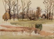 View on a meadow  Watercolor on sketchbookspaper