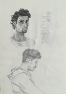 Selfportrait and portrait of my brother gaming  Pencil on sketchbookpaper