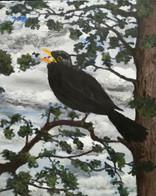 Singing blackbird in a tree  Oil on canvas  August 2019  Olie op doek