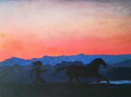 Alexander rennend achter zijn paard Bucephalus aan Alexander chasing his horse Bucephalus  Acryl op paneel Acrylic on panel  September 2017