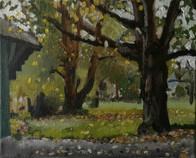 Zicht op de achtertuin View of the backyard  Olieverf op doek Oil on canvas  Oktober 2017 October 2017