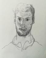 Selportrait in the mirror  Pencil on sketchbookpaper