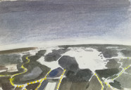 View from the airplane  Watercolor on Shetchbookpaper