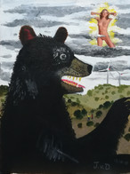 Murderous bear in a poisoned landscape with a heavenly naked young lady in the clouds - Painting for David Noro.  Acrylics and paper on canvas   October 2019