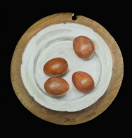 Four eggs on a plate After Lucian Freud  Oil on wood