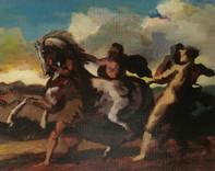 Studie naar Théodore Géricault: Slaven die een paard stoppen Study after Théodore Géricault: Slaves stopping a horse  Olieverf op karton Oil on cardboard  2017