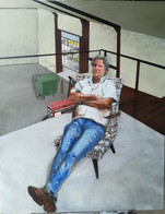 Portrait of my father in the studio  Oil on canvas