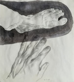 Left foot and left hand  Pencil, deluted ink and charcoal on sketchbookpaper