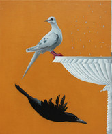 Pigeon And Crow Near A Fountain  Oil on Linen  2020
