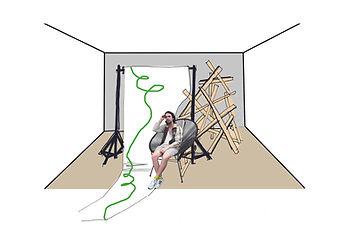 Skizze von Set Design für Dokumentation von Zusammenkunst vonjaira peyer