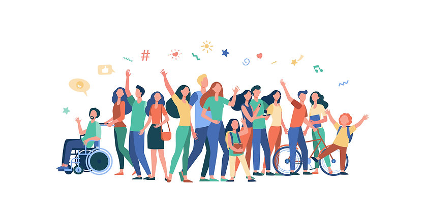 illustrated diverse group of people standing together waving against a white background