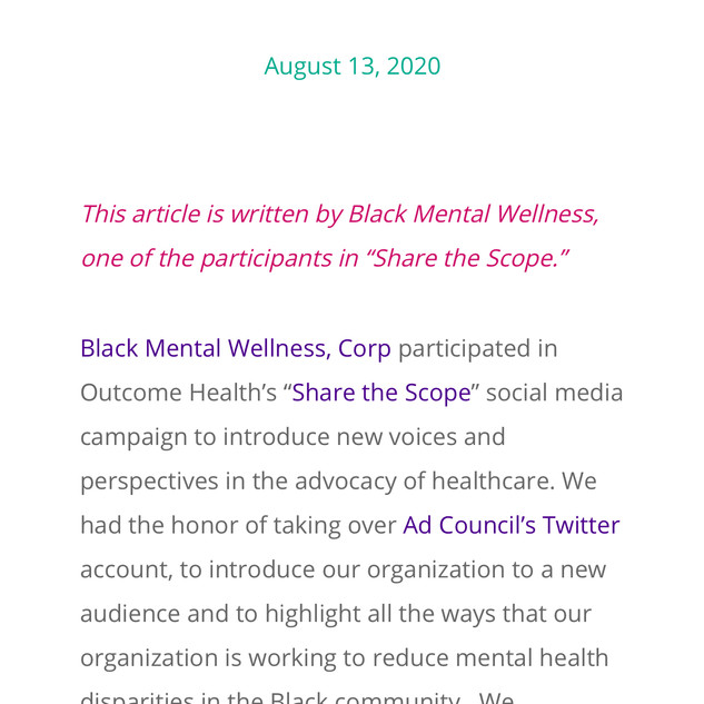 Advocating for Black Mental Health and Wellness