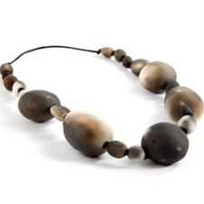 Raku pebble necklace