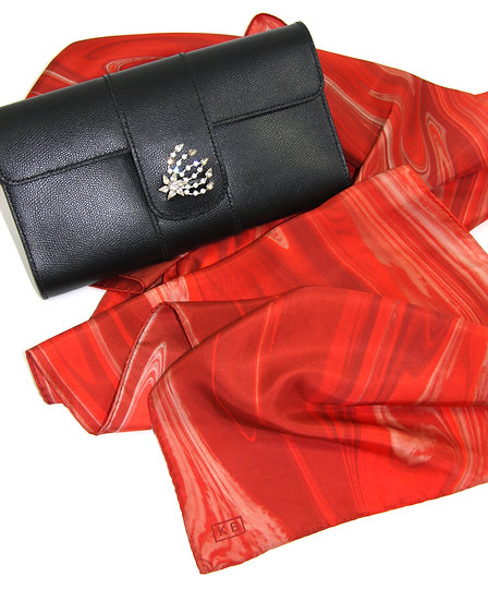 100% Silk Scarf in Red/White