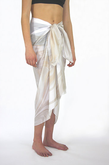 100% Silk Large Scarf/Sarong in Ivory