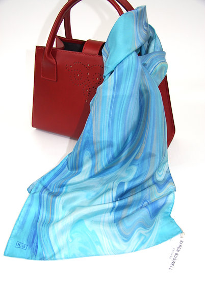 100% Silk Scarf in Turquoise