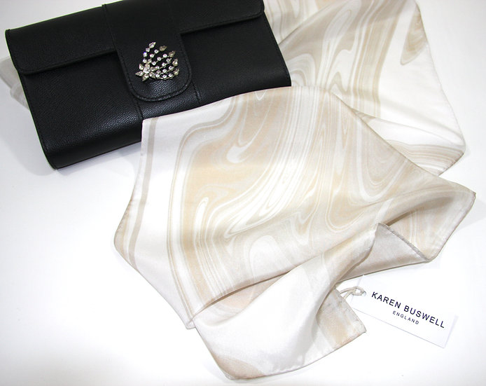 100% Silk Scarf in Ivory