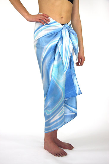 100% Silk Sarong in Blue/Turq/White