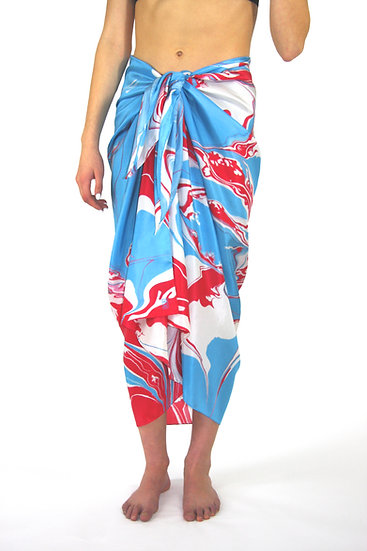 100% Silk Large Scarf/Sarong in Red/Blue/White