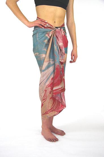 100% Silk Large Scarf/Sarong in Raspberry/ Teal