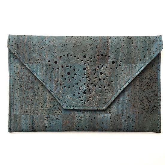'Sapperton' Envelope Cork Clutch (seagreen)