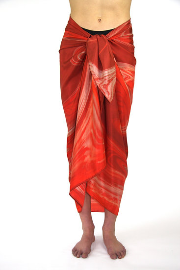100% Silk Sarong in Red/White