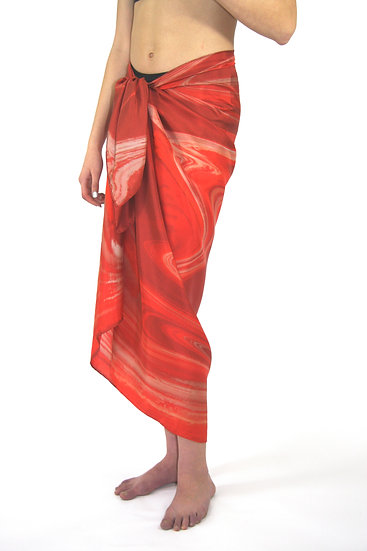 100% Silk Large Scarf/Sarong in Red/White