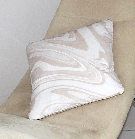 Cream Marbled Velvet Cushion