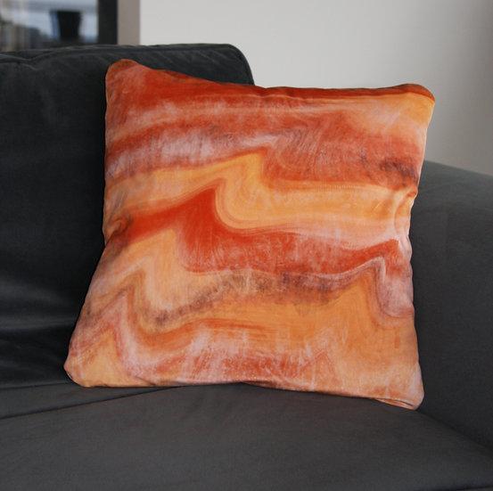 Burnt Orange Wave Velvet Cushion