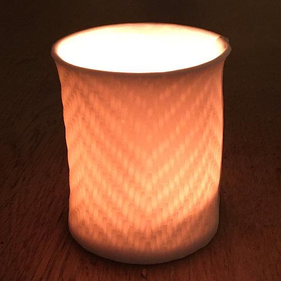 Handmade Porcelain Herringbone Tealight