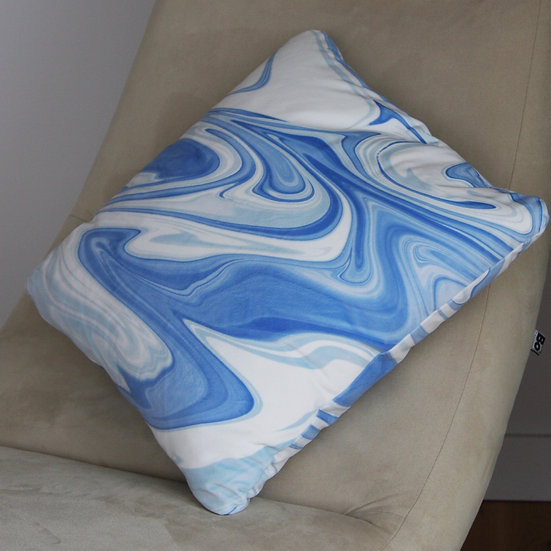 Blue Marbled Velvet Cushion