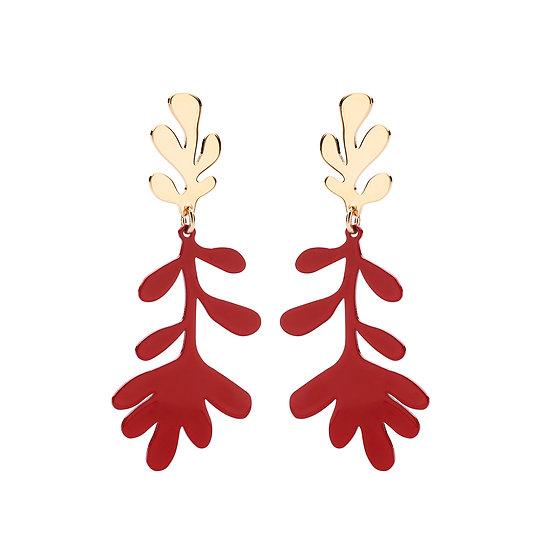 SDP - EA57 - Coral statement red earrings