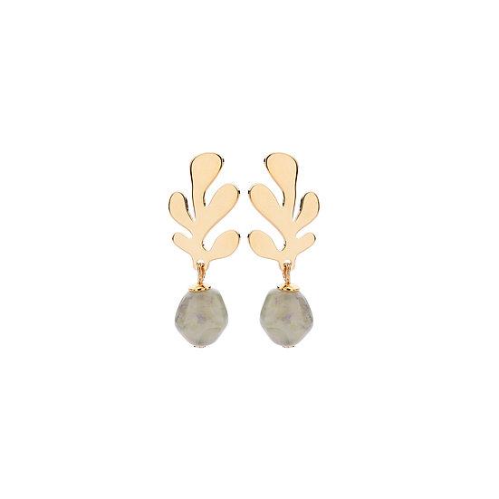 SDP - EA15 - coral mini soft green earrings