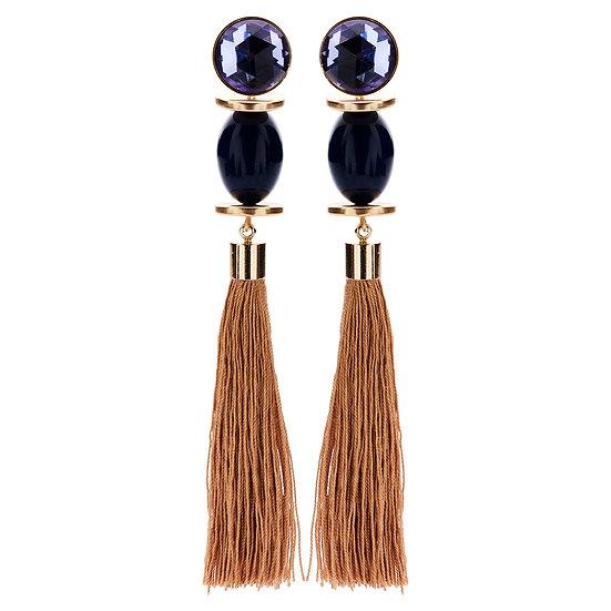EA46 EA45 Manu tassel navy earrings