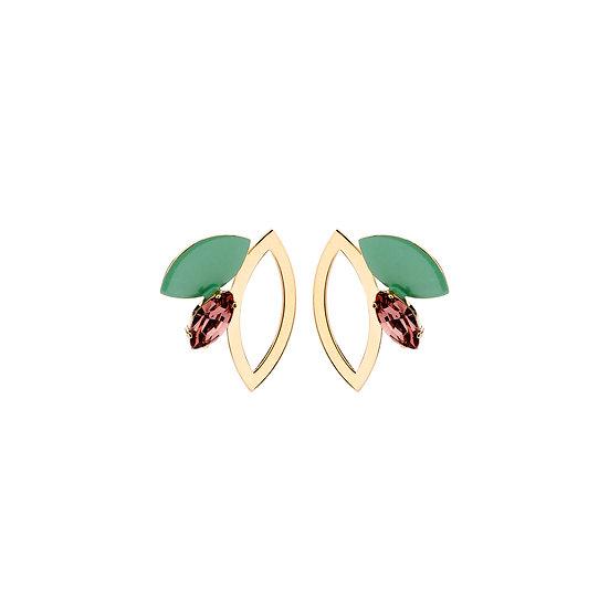 SDP - EA39 - Eva shortie green mix earrings