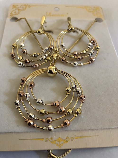 Gold Plated Earring and Necklace w/ Silver, Rose Gold, and Gold Gems